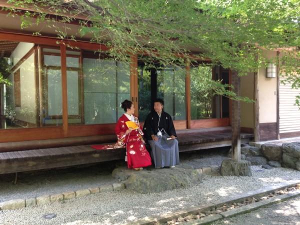しょうざんの日本庭園での和装前撮り
